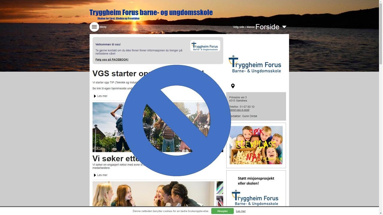 Gammel nettside, skjermdump